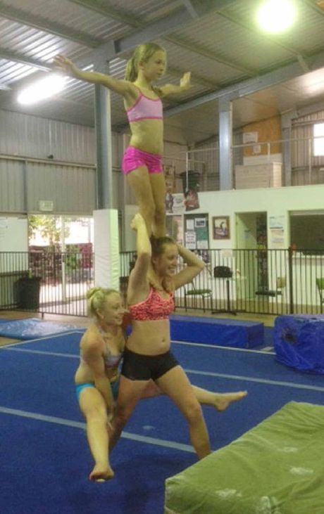 Gympie gymnasts Teagan Cleary, Mikaela Cleary and Jade Bailey have already started acro training with coach Latisha Thomson.