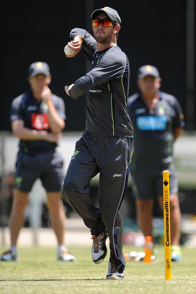 Glenn Maxwell bowls during an Australian training session at The Gabba on January 17, 2013 in Brisbane, Australia.