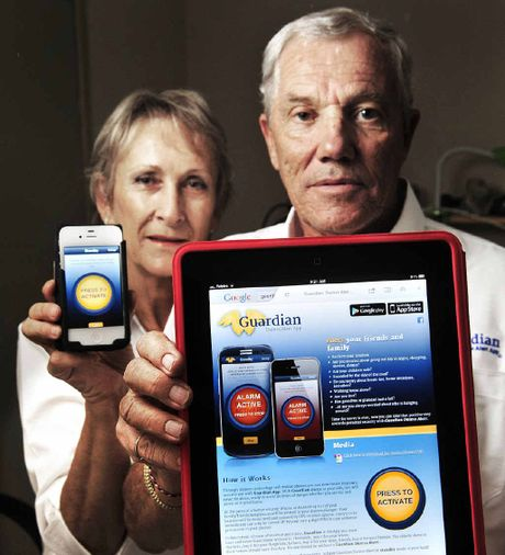 SMART SAVER: Michael and Lucy Davis with the Duress Alert App they developed.