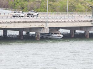 Trimaran trapped underneath Forgan Bridge