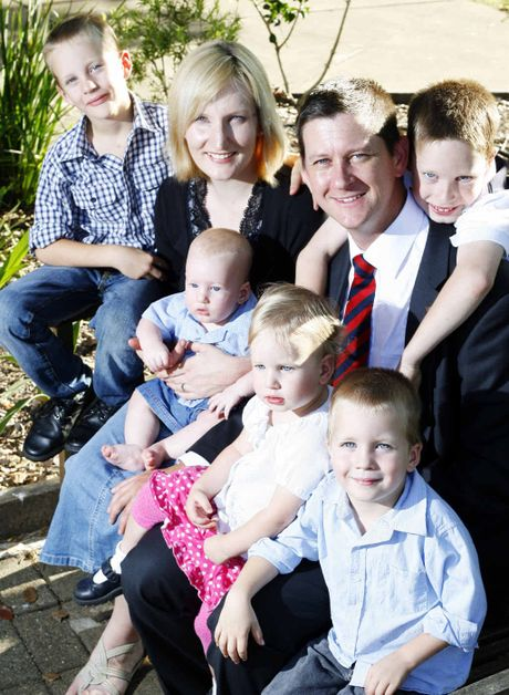 CENSURED: Suspended Katter Party national general secretary Bernard Gaynor with his family.