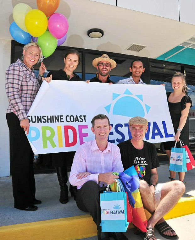 CELEBRATE: From back left, Kristy Asquith, Amanda Leany, Dave Evans, Charoensak Srikanchana, Jessie Lee, and front, committee members Paul Ferguson and Bernard Gardiner prepare for the Sunshine Coast Pride Festival.