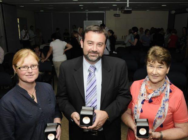 Darling Downs Hospital and Health Service Australia Day award winners (from left) Josie Skewes, Geoff Argus and Carol Batterham.