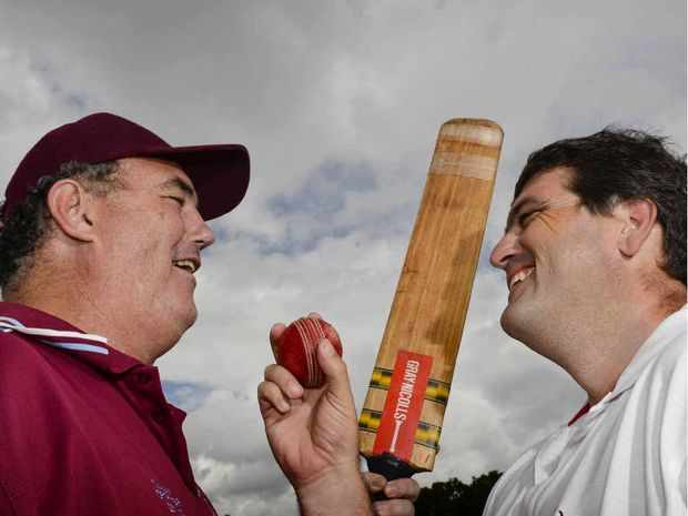 Clarence River Cricket Association president Tom Howard and Clarence Valley Council Mayor Richie Williamson square up before their Mayor's v President's XI cricket match on Australia Day at Ellem Oval. Photo: Adam Hourigan