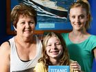 HISTORIC LINK: Dawn Pincott of Camira, who is the granddaughter of one of the longest living survivors of the Titanic, with Tiffany (centre), 12, and Laura, 17.