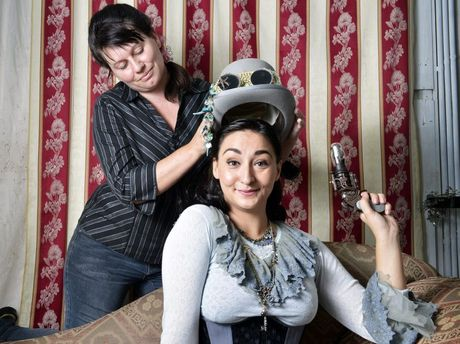 Cassandra Booth adds the finishing touch to Eva Vivacia's steampunk look.