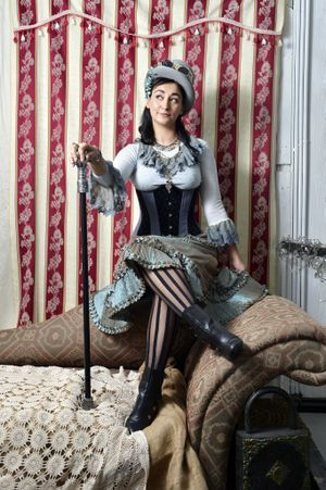 Cassandra Booth's corsetry collection and steampunk workshops have proved popular with steeampunk trend-setters. Eva Vivacia models a steampunk look from The Dark Magician on Bell Street. Photo: Claudia Baxter / The Queensland Times