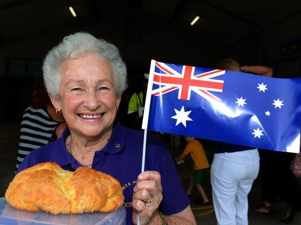 Australia Day 2013. Mary Collis with her winning Damper. Photo: John Gass / Daily News