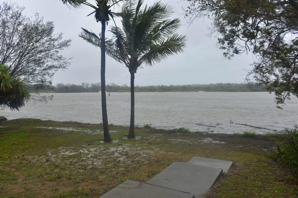Heavy rain in the Gladstone region flooded the Boyne River on Australia Day.