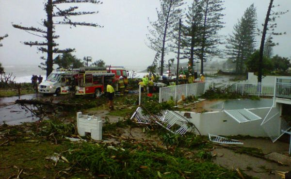 The scene of the devastating mini-tornado at Bargara near Bundaberg. Picture: Channel 9  via Twitter