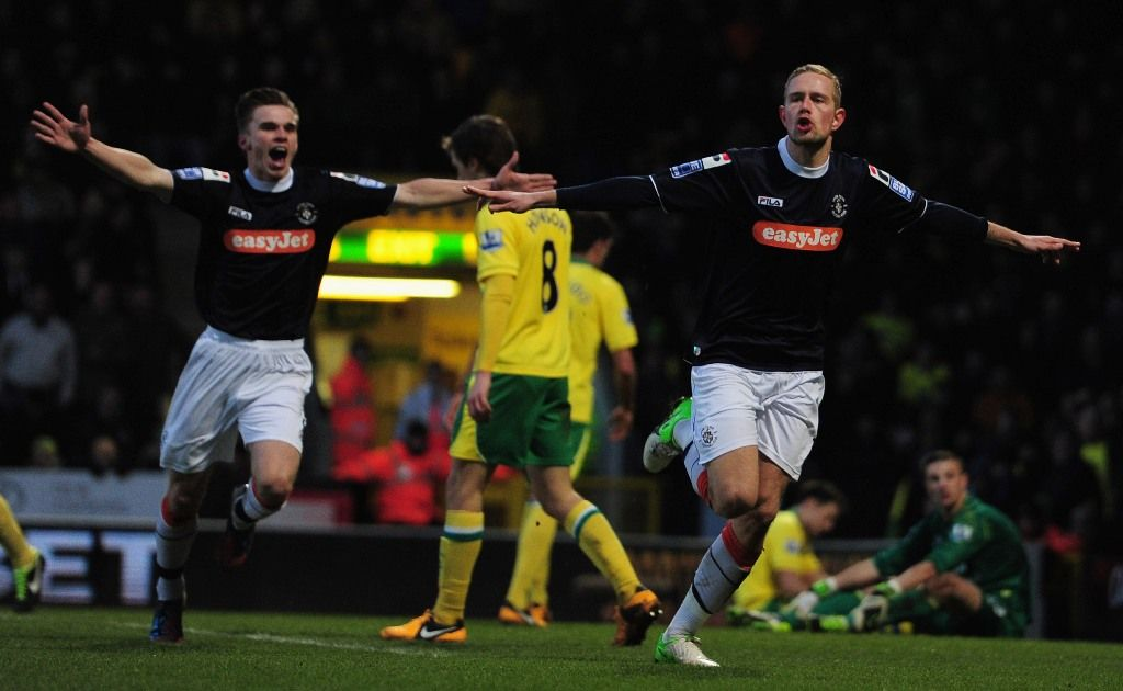 Scott Rendell of Luton Town celebrates his goal during the FA Cup with Budweiser fourth round match between Norwich City and Luton Town at Carrow Road on January 26, 2013 in Norwich, England.