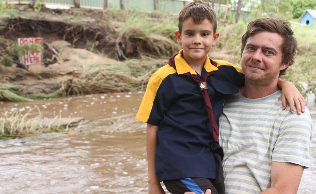 Jaykin Goodsall and his big brother Scott Smith put on a brave face after saving two lives following Thursday's flood