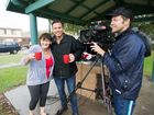 A film crew from Channel 7's Sunrise program was in Coffs Harbour reporting on the big wet that's hit the Coffs Coast. From left: Annie Clarke, reporter James Tobin and cameraman Trent Miller. Photo: Trevor Veale / The Coffs Coast Advocate
