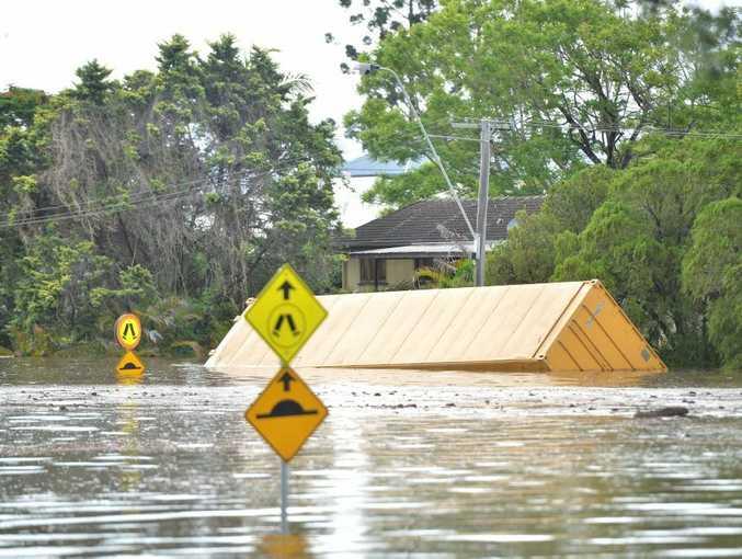 One Mile school carpark flooded.