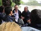 Premier Campbell Newman with Ipswich Mayor Paul Pisasale on the Bremer River.