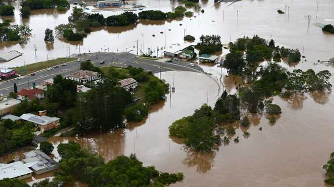Aerial shot of Gympie during the floods.