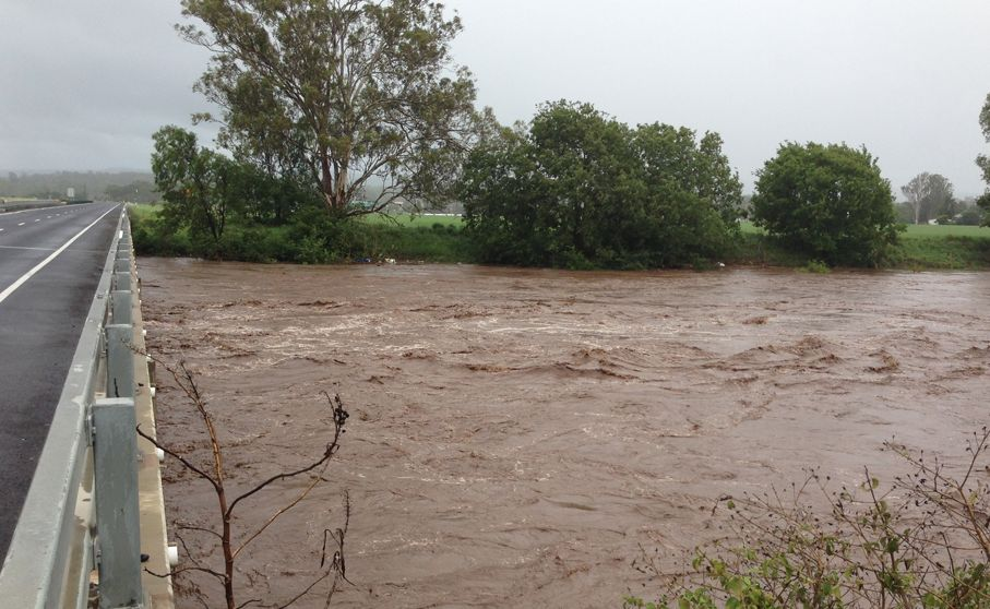 A raging Lockyer Creek at Gatton.