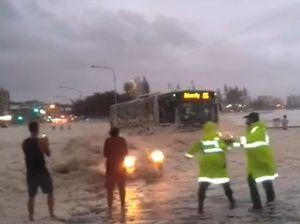 Amazing video of near miss as car bursts through foam