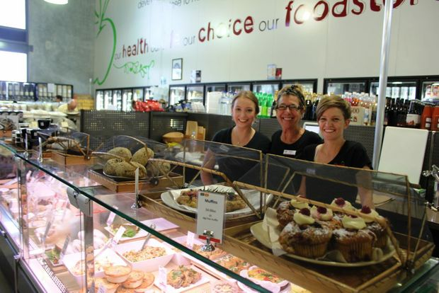 Natural Food Store employees Emma Topliss, Hilary Clarke and Jennine Curry with the shop's new deli Photo Emily Haynes / Buderim Chronicle