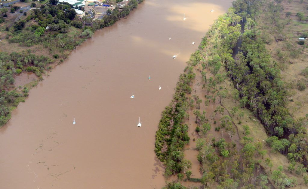 Fitzroy River. Images from the air - The big wet, Australia Day weekend around Rockhampton 2013.