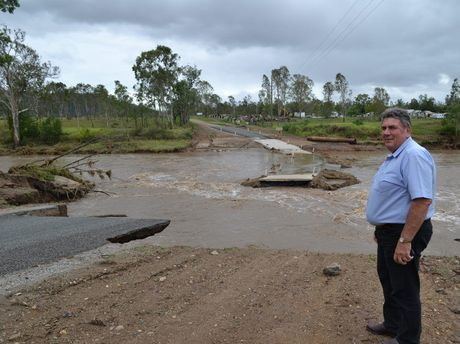 Somerset Regional Council Mayor Graeme Lehmann inspects damaged infrastructure as a result of extensive flooding between Esk and Toogoolawah.