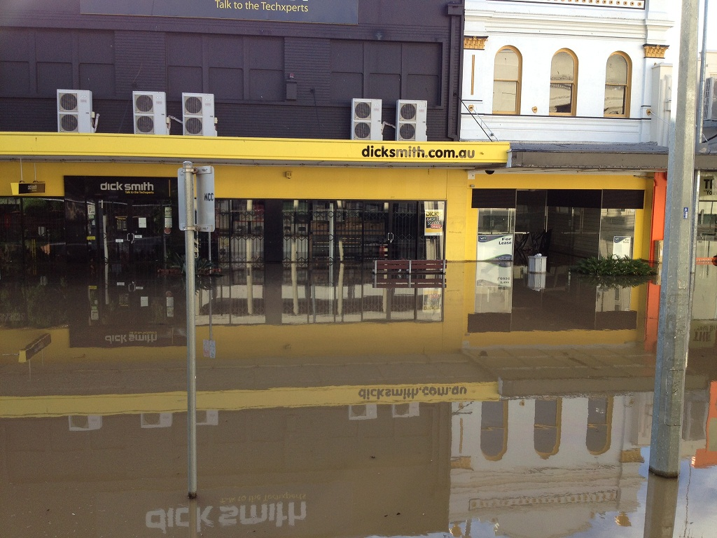 The Dick Smith store in Adelaide St has been flooded.