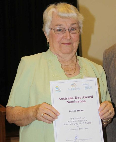 Gympie's 2013 Citizen of the Year Jackie Hyam.