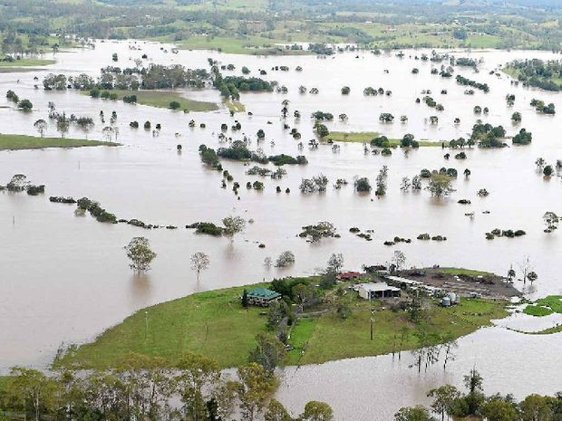 ISOLATED: This aerial photo was taken of the Gresham family farm in the Gympie district during the recent floods.