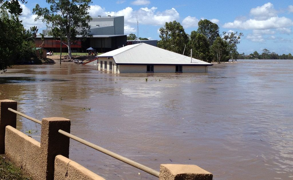 The double-storey Maryborough sailing club went underwater during the floods.