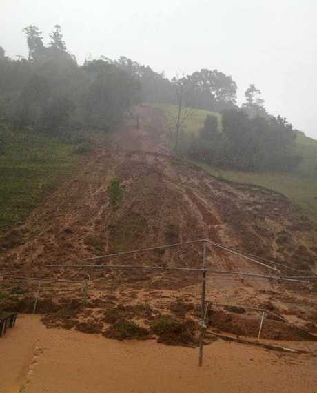 It was a close call for the Long family, whose property backs onto the area which copped a landslide, at Mooloo.