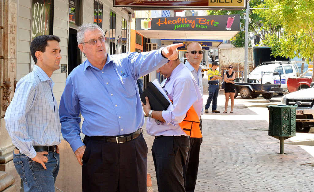 Local Government Minister David Crisafulli with Mayor Ron Dyne in Mary St yesterday.
