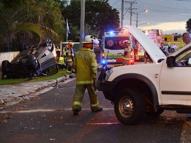 STREET SMASH: Scene of the crash involving a stolen BMW and a ute in Silkstone.