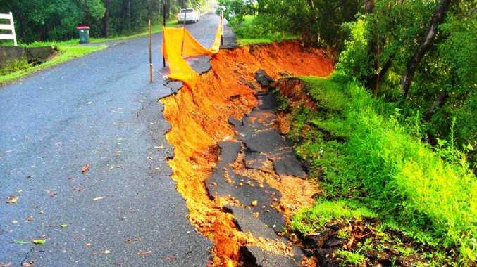 A major slip on Rowlands Creek Road near Uki is just one the costly effects of this weekend's flood event.