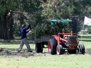 Golf course turns into lake and leaves debris behind