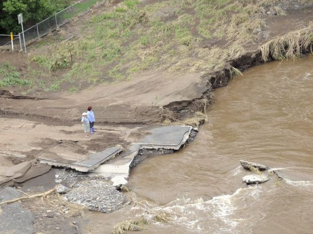 A 20km section of the Mt Sylvia Rd has been wiped out.