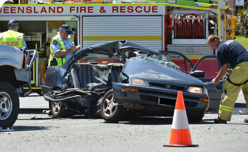 The scene of the fatal car crash on the corner of Beerwah-Kilcoy Rd and the Steve Irwin Way.