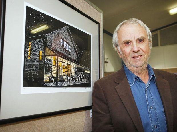 The Queensland Times 2012 Ipswich Art Awards. Winning artist Rex Addison with his work.