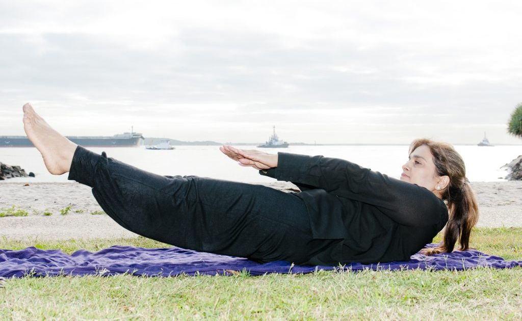 YOGA GURU: The Observer's yoga and wellbeing columnist Pushpa Bakshi at Spinnaker Park, Gladstone.