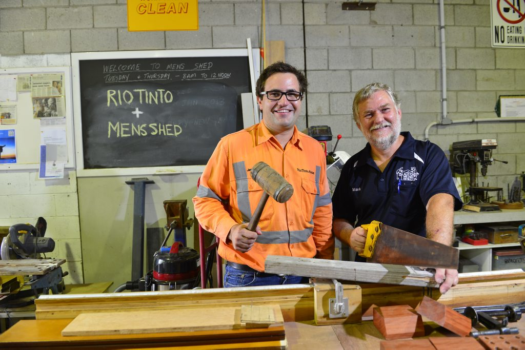 Rio Tinto Alcan's Jeremy Hastings and Men's Shed president Mark Robinson.