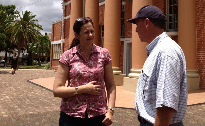 Opposition Leader Annastacia Palaszczuk talks to Fraser Coast Chronicle Mayor Gerard O'Connell outside Maryborough City Hall.