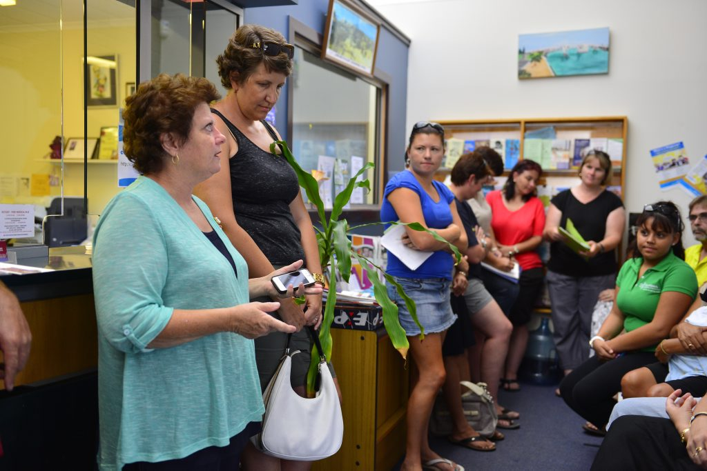 Parents upset with the new Buslink timetable gathered to voice their concerns at Liz Cunningham's office in Gladstone.