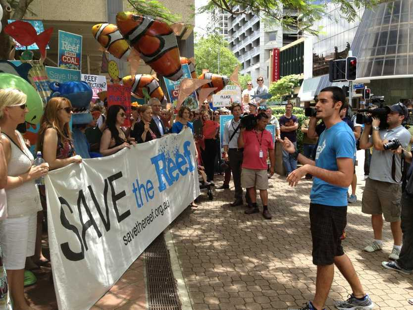 Queensland Greens Senator Larrisa Waters and candidate Adam Stone were among those at the Save the Great Barrier Reef protest outside the Queensland Government's executive building in Brisbane.