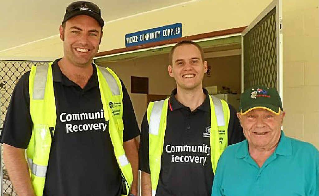 James McManis and James Robertson of the Community Recovery Team, discussing flood damage with Ted Senior of Widgee at Thursday's Community Cuppa.