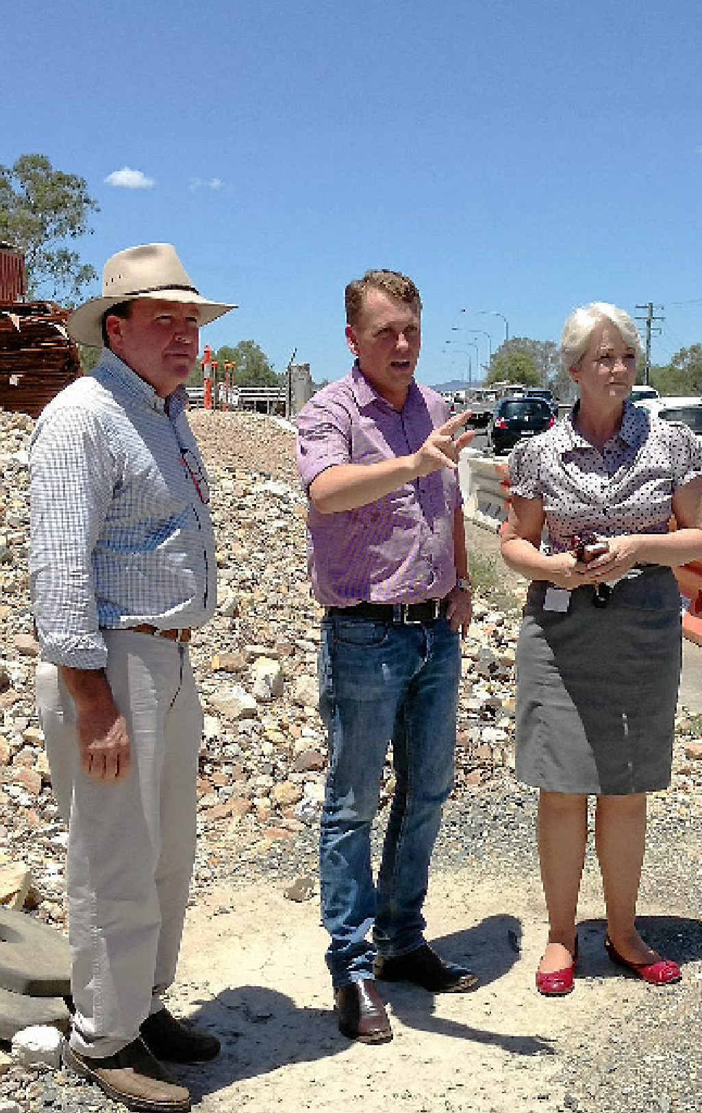 FIRST-HAND LOOK: Member for Keppel Bruce Young with Main Roads Minister Scott Emerson and Rockhampton Mayor Margaret Strelow.