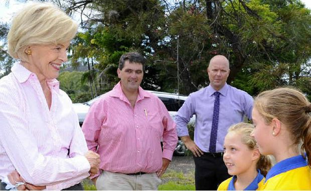 Governor-General Quentin Bryce meets Copmanhurst Public School captain and vice captain Chelsea Knight and Laura Miles yesterday.