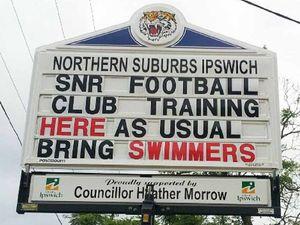 Sense of humour intact despite flood damage