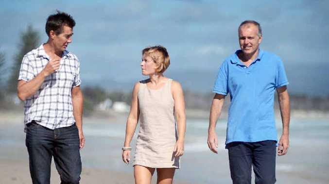 UNITED: Cameron Arnold, Kim Dowling and Ben Kirkwood of VIA Byron at Clarkes Beach, Byron Bay.