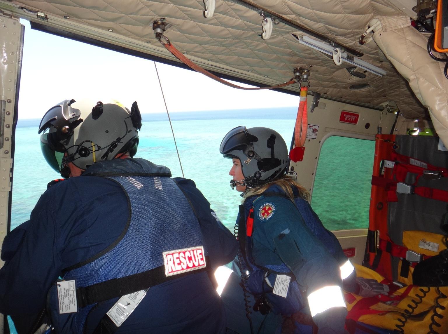 RACQ CQ Rescue air crewman Paul Price and flight paramedic Linda Dow.