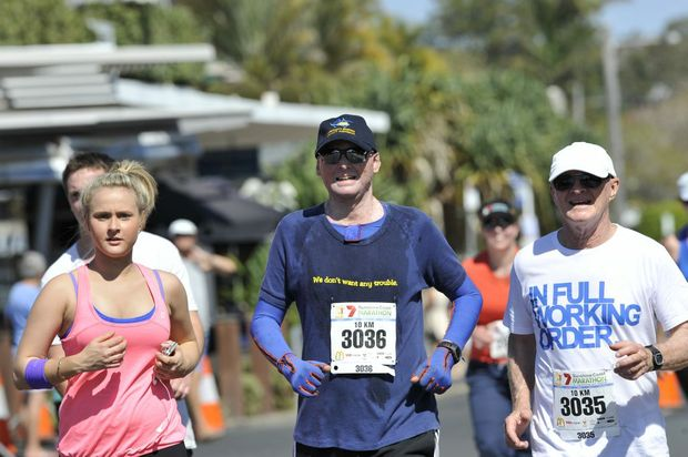 Thousands turned out to compete in the Sunshine Coast Marathon and Community Run Festival. Matt Golinski competes in the 10km run with friends and family. Photo: Patrick Woods/Sunshine Coast Daily.