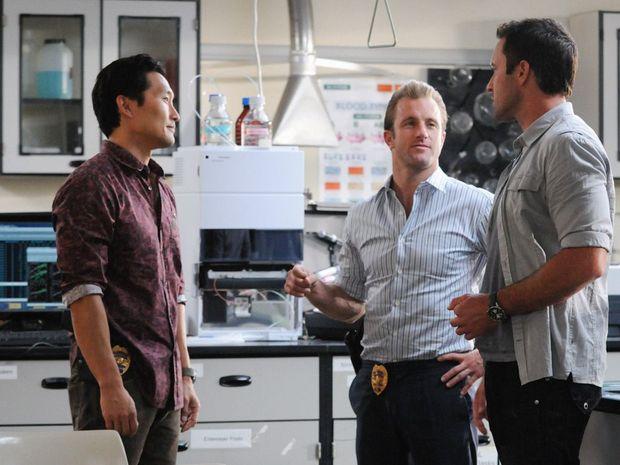 Daniel Dae Kim, Scott Caan and Alex O'Loughlin in the episode titled 'Kapu'.